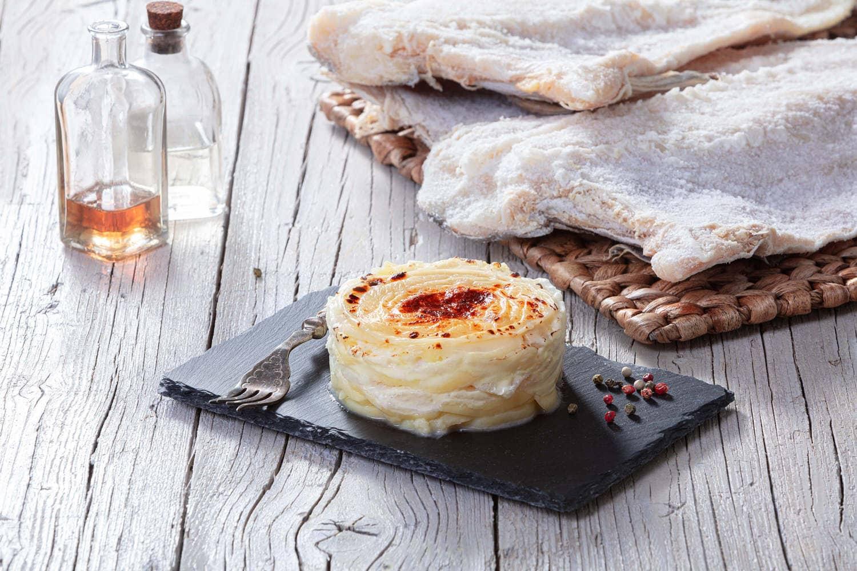 Bacalao Ubago cremoso con queso parmesano